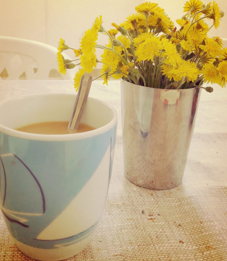 morning coffee with dandelions