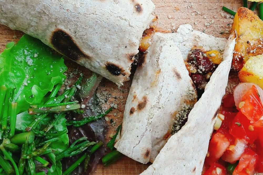 mexican tortilla with wild asparagus and egan parmesan