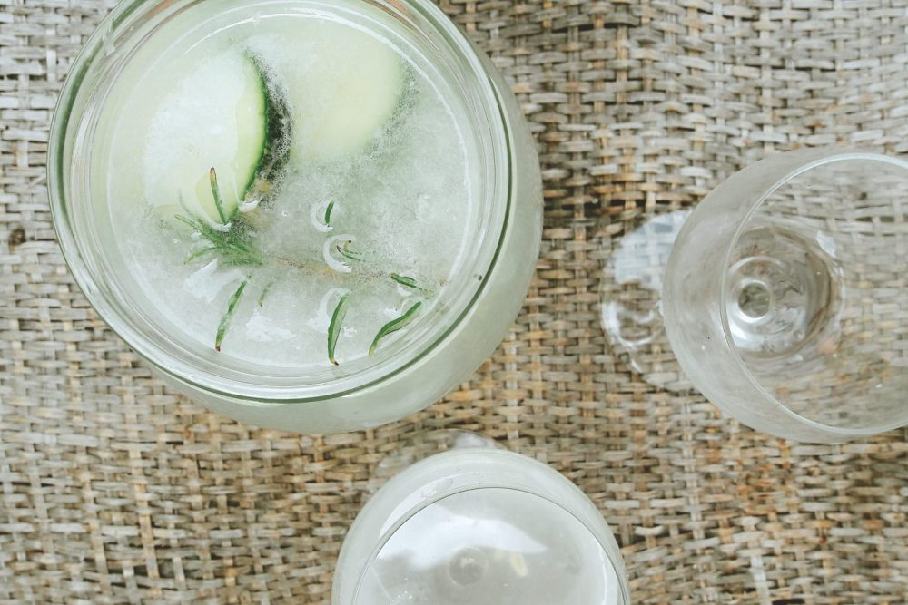 rosemary cucumber lemonade, infused water, refreshment drink
