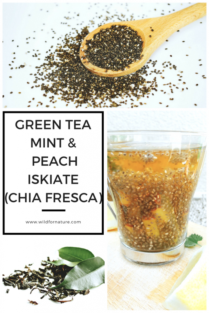 green tea peach chia fresca