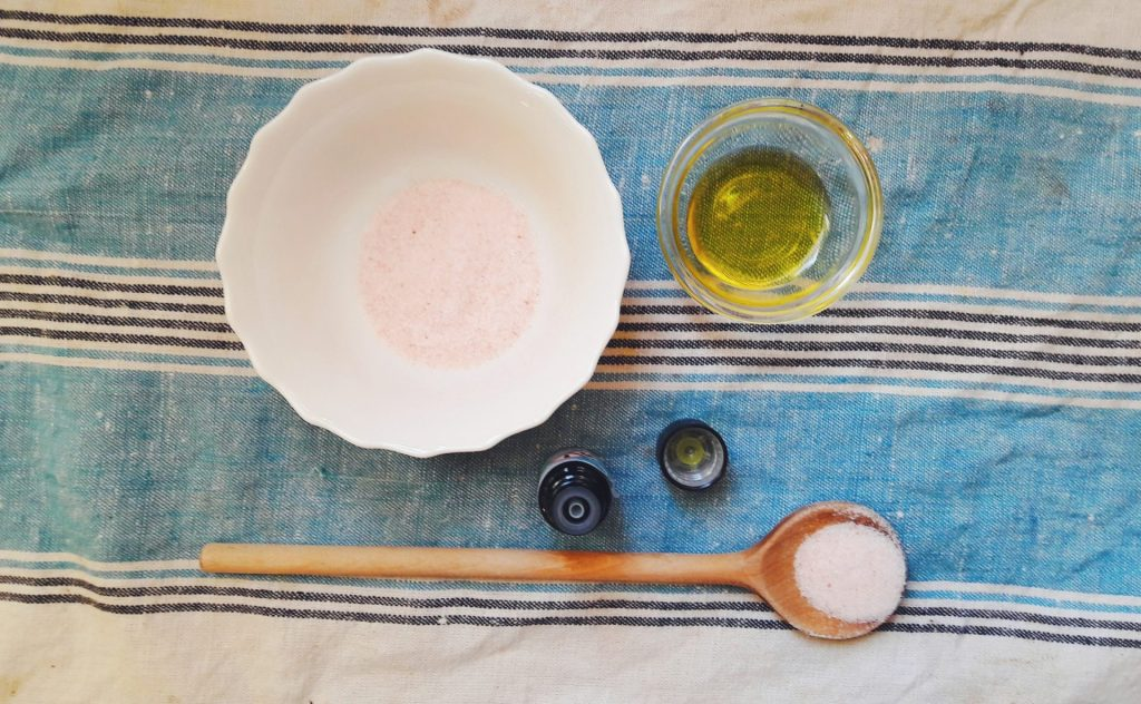 Nutritious homemade olive oil body scrub