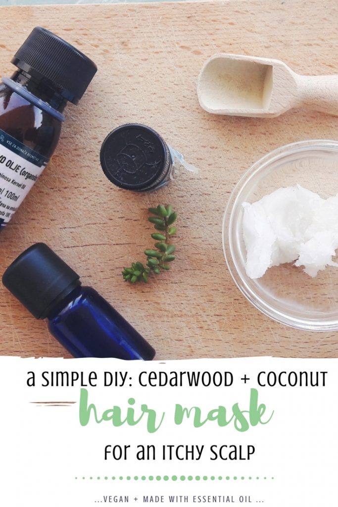 a simple diy cedarwood and coconut oil hair mask for itchy scalp