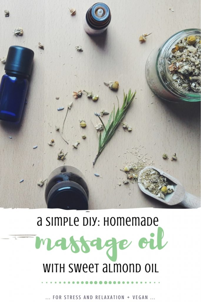 homemade massage oil with sweet almond oil